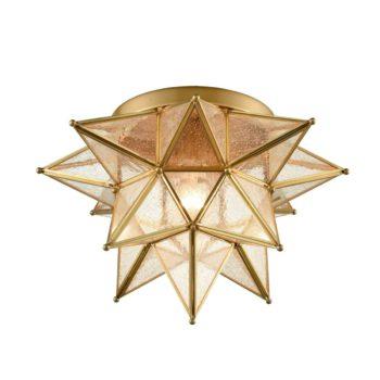 Brass Moravian Star Ceiling Light Seeded Glass 15-Inch