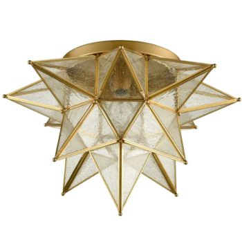Brass Moravian Star Ceiling Light Seeded Glass 18-Inch