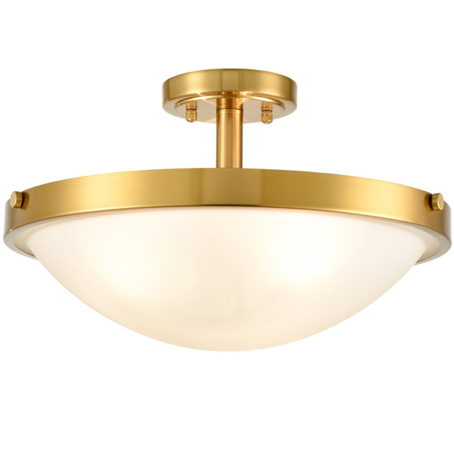 Brass Semi Flush Ceiling Light 3-Light Glass Ceiling Light Fixture