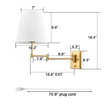 Brass Swing Arm Wall Sconces Plug in or Hardwired Wall Lights-2 Pack