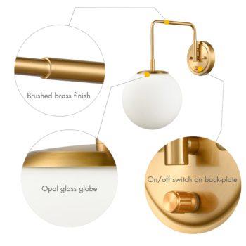 Plug-in Brass Wall Sconce Opal Globe Glass Modern Wall Sconce