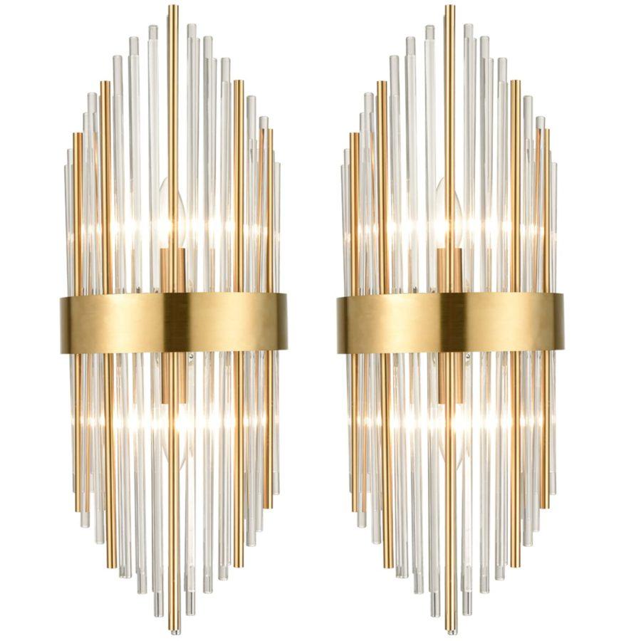 Brass Wall Sconces Lighting 2 Pack Elegant Glass Rod Wall Mount Lamp