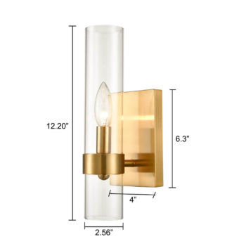 Brushed Gold with Glass Shade 1 Light Wall Sconces Wall Light Fixture