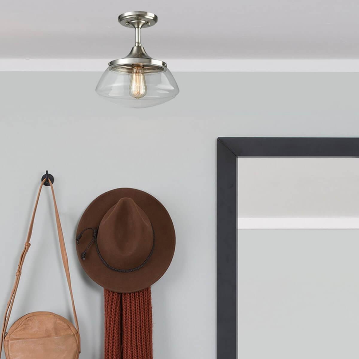 Modern Brushed Nickel Semi Flush Mount Ceiling Light