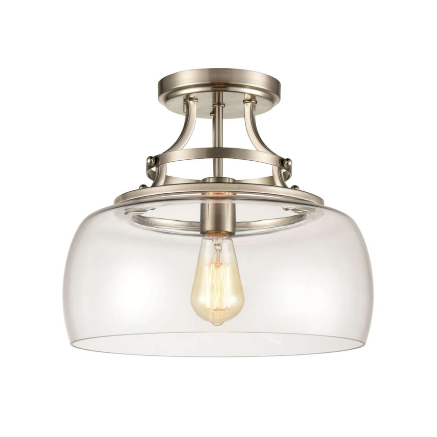 Modern Brushed Nickel Ceiling Light with Clear Glass Drum Shade