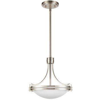Brushed Nickel Pendant Light 2-Light Elegant White Glass Shade