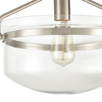 Brushed Nickel Semi-flush Mount Ceiling Light Glass Dome Shade