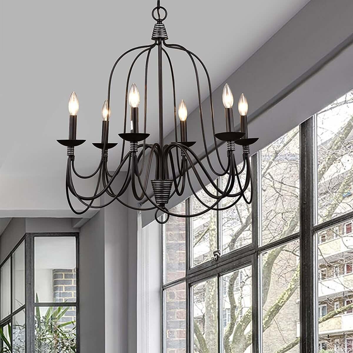 Industrial Bronze Candle Chandelier 6-Light Dining Room Fixture