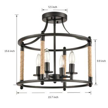 Farmhouse Metal Drum Semi Flush Mount Ceiling Light with Hemp Rope
