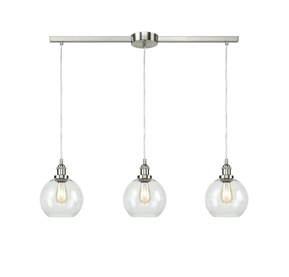 Industrial Kitchen Island Globe Pendant Light 3-Light Brushed Nickel