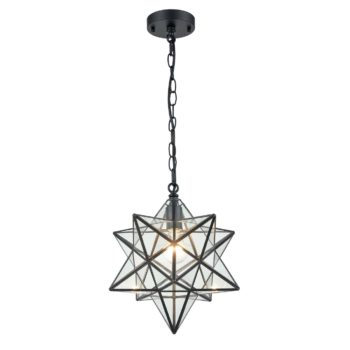 Moravian Star Pendant Lights Clear Glass Shade , 14''