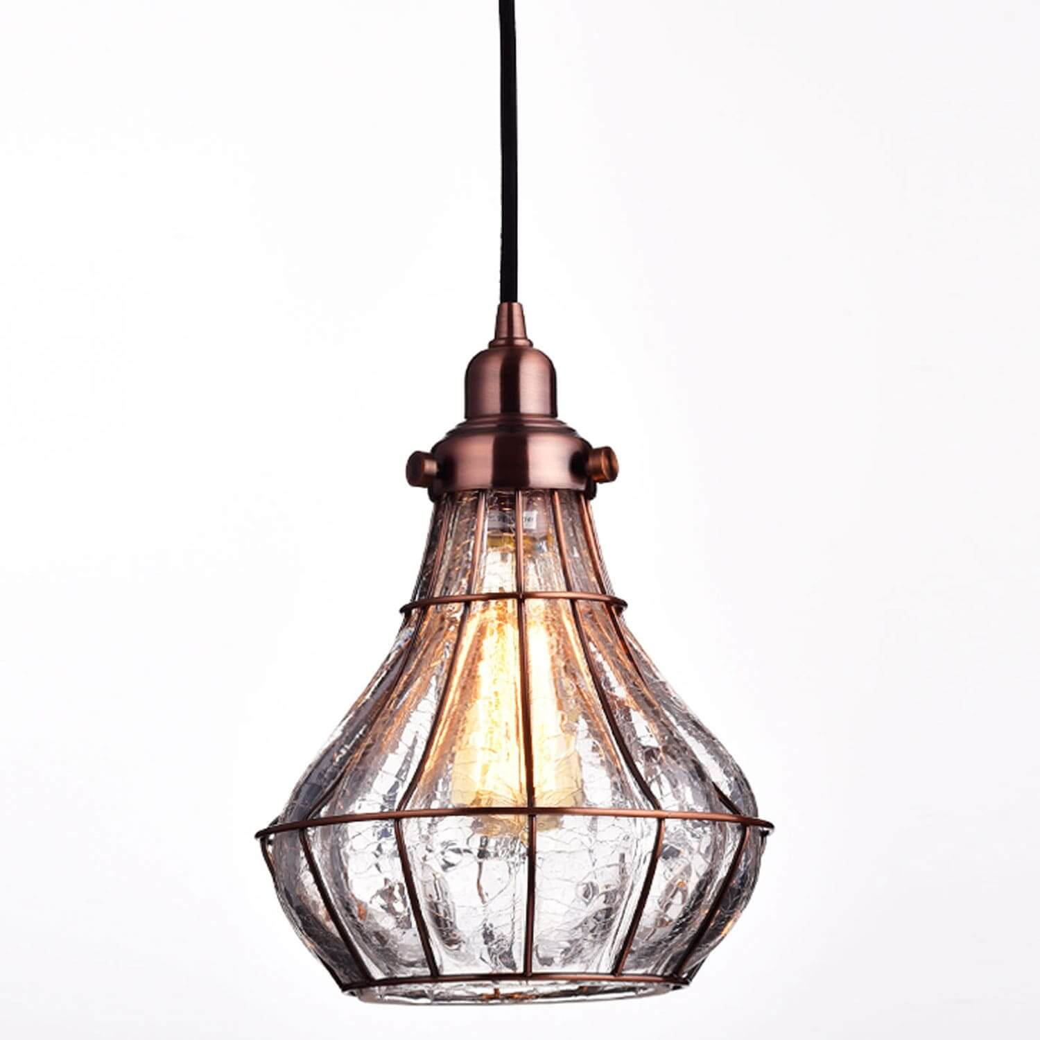 Rustic Cracked Glass Pendant Light Antique Red Copper Finish