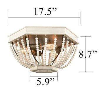 Wood Beaded Ceiling Light Distressed Off-white Fixture