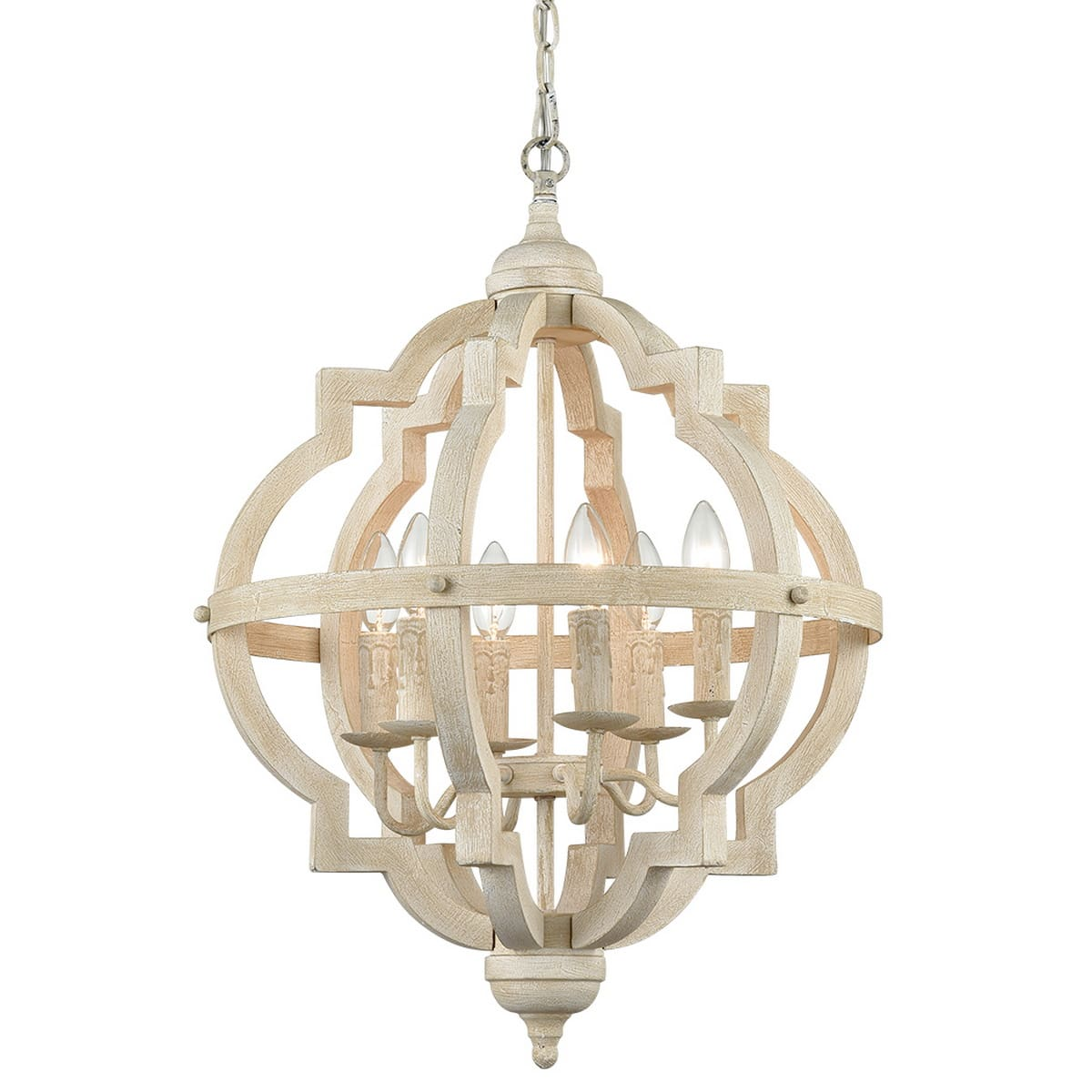 Distressed Off-white Wooden Chandelier Sphere 6 Light