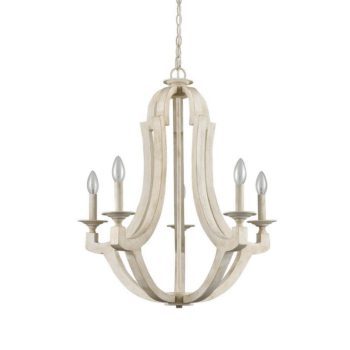 French Country Distressed Wooden Chandelier 5-Lights