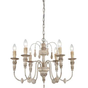 Distressed Cottage Chandelier 6 Light Candle Farmhouse Foyer Lighting Fixture