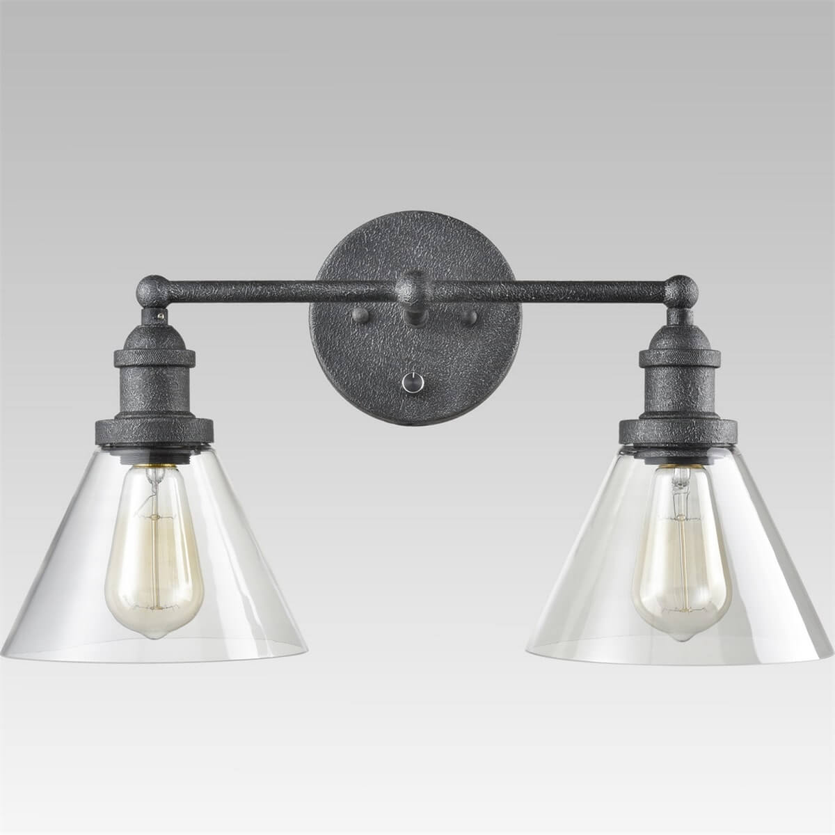 Vintage Plug-in Glass Wall Sconce Double Light Bell Shape