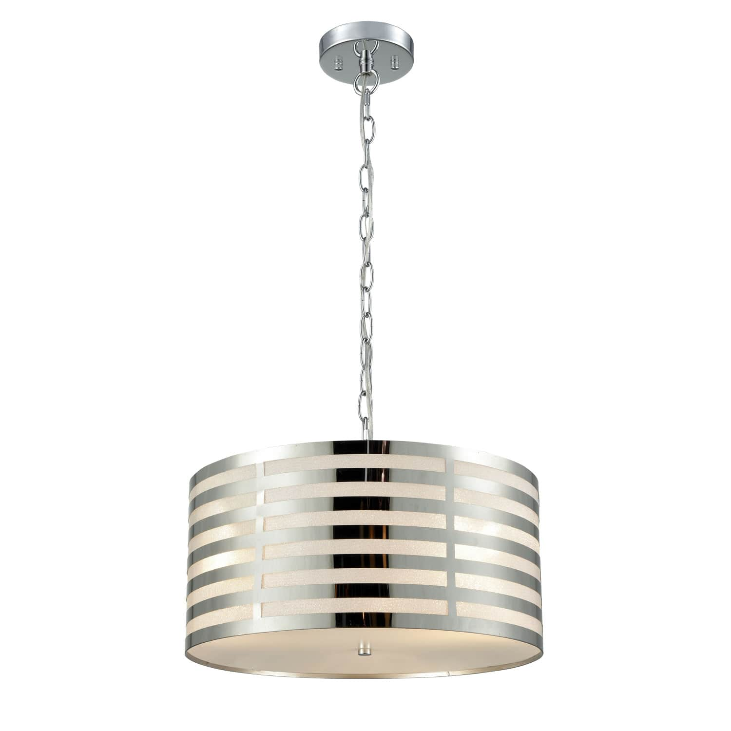 Modern Pendant Chandelier Chrome Finish with Drum Shade