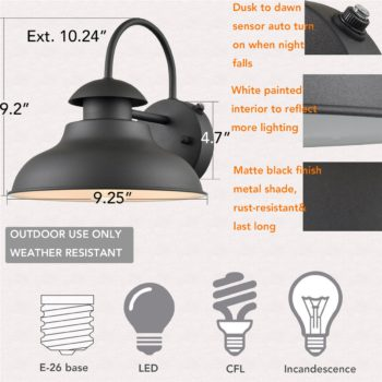 Dusk to Dawn Black Outdoor Wall Lights Set of 2