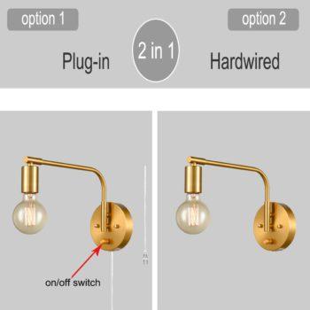 Modern Swing Arm Plug-in Wall Sconce Set of 2 Brass Light