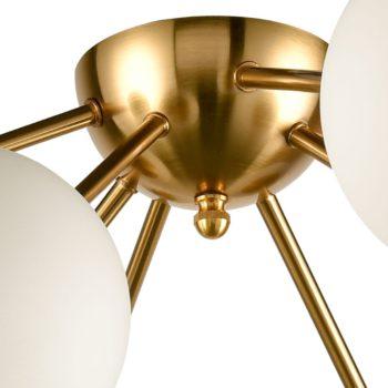 Mid Century Brass Sputnik Ceiling Light Opal Glass Shades 8-Light