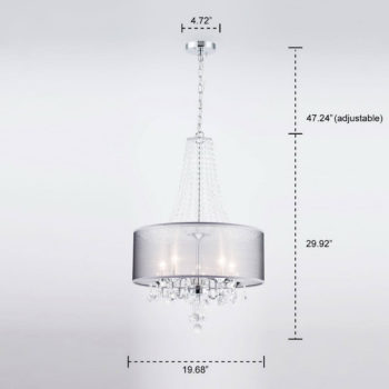 Modern Crystal Drum Chandelier Luxury Fabric 5-Light Hall Fixture