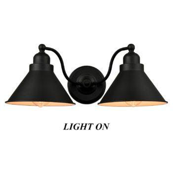 Farmhouse 2-Light Vanity Light Matte Black Industrial Wall Sconce