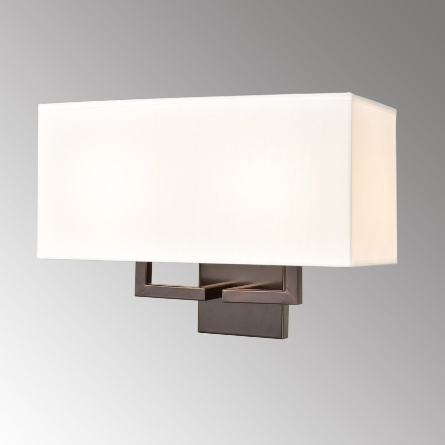 Farmhouse 2-Light Wall Lamp Orb Finish with White TC Fabric Shade