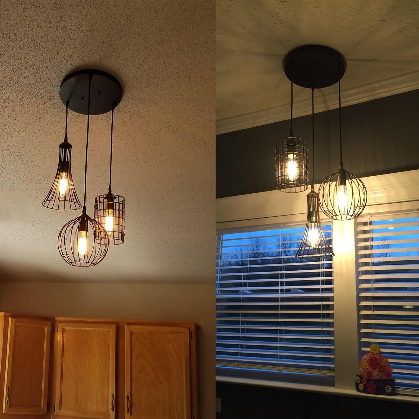 Farmhouse 3-Light Hanging Pendant Chandelier Cage Shade