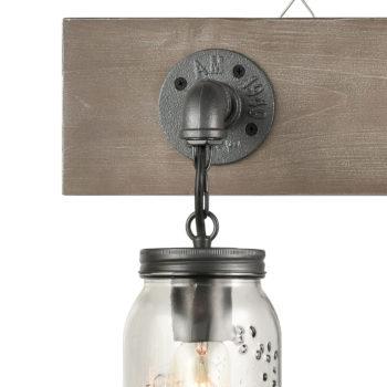 Farmhouse 3 Light Mason Jar Bathroom Vanity Lighting Wood & Glass