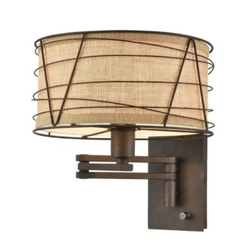 Farmhouse Fabric Swing Arm Wall Lamps Brown Plug in Wall Lights