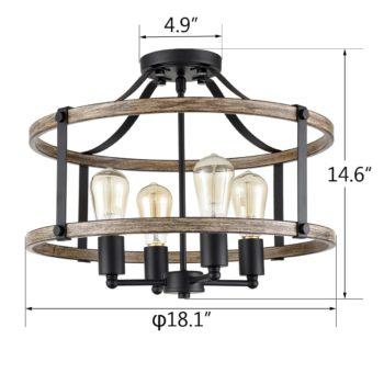 Farmhouse Ceiling Light Fixtures Ceiling Semi Flush Mount Chandelier