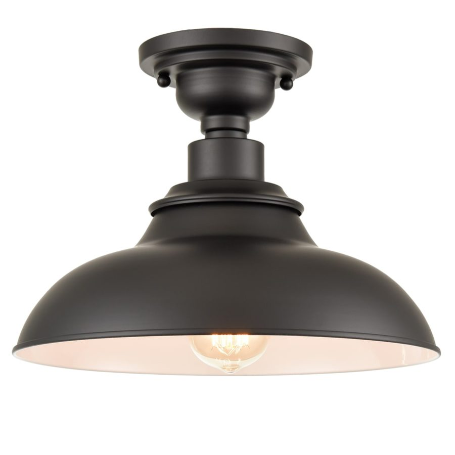 Farmhouse Ceiling Light Semigloss Black Semi Flush Ceiling Lighting