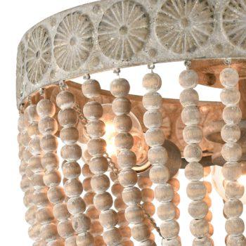 Farmhouse Wood Beaded Ceiling Lights Flush Mount Distressed White