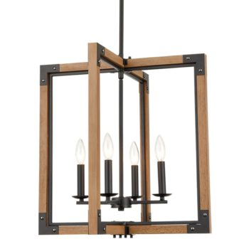 Farmhouse Chandelier 4-Light Distressed Off-White Dining Room Lighting