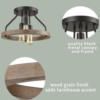 Farmhouse Flush Mount Ceiling Light Wood Grain with 3 Lights