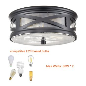 Farmhouse Flushmount Ceiling Light Black Drum Light Fixture Seeded Glass Shade