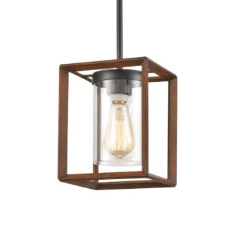 Farmhouse Wood Square Pendant Lights with Glass Shade