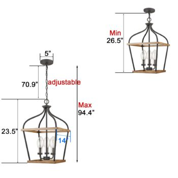 Farmhouse Lantern Cage Pendant 3-Light Wood Grain with Glass Shade