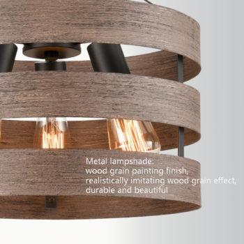 Farmhouse Metal Drum Ceiling Light Wood Finish Dining Room Fixture