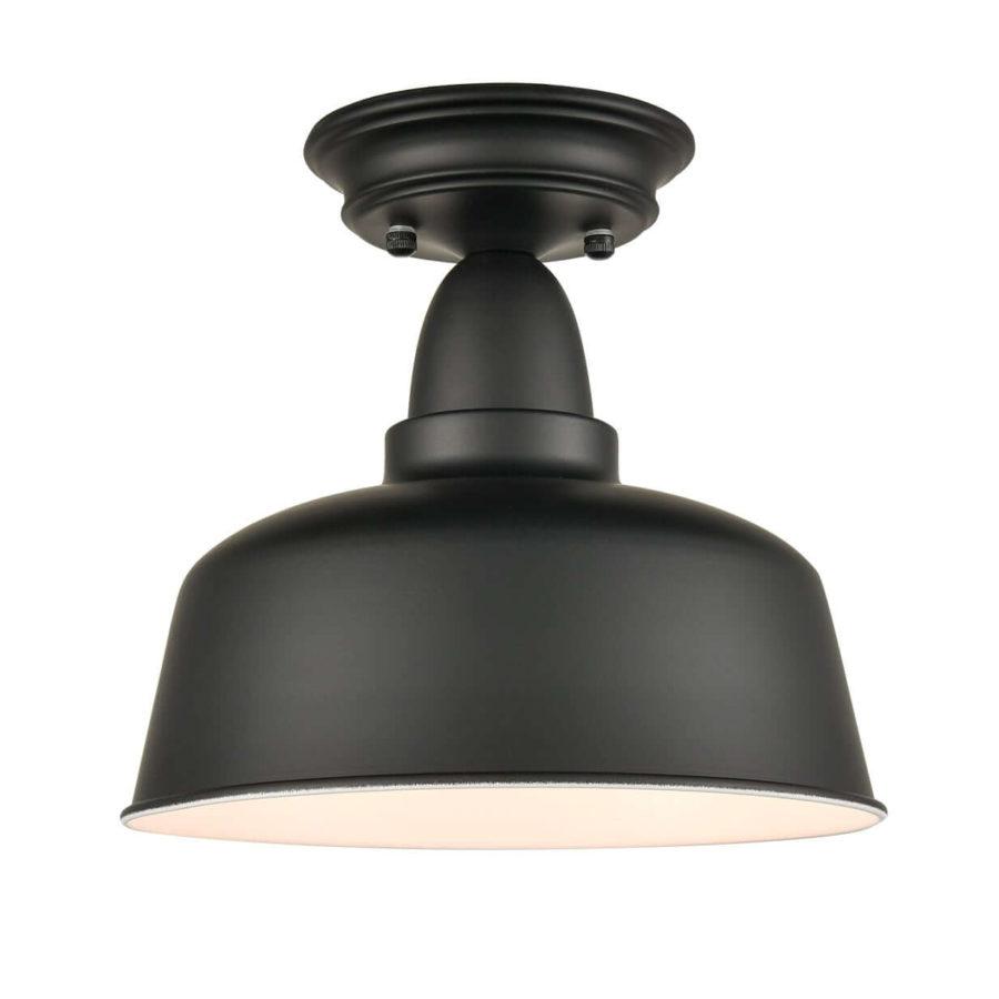 Farmhouse Matte Black Semi Flush Mount Ceiling Lights Barn Shape