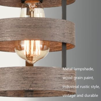 Rustic Metal Cage Kitchen Island Pendant Light Wood Finish