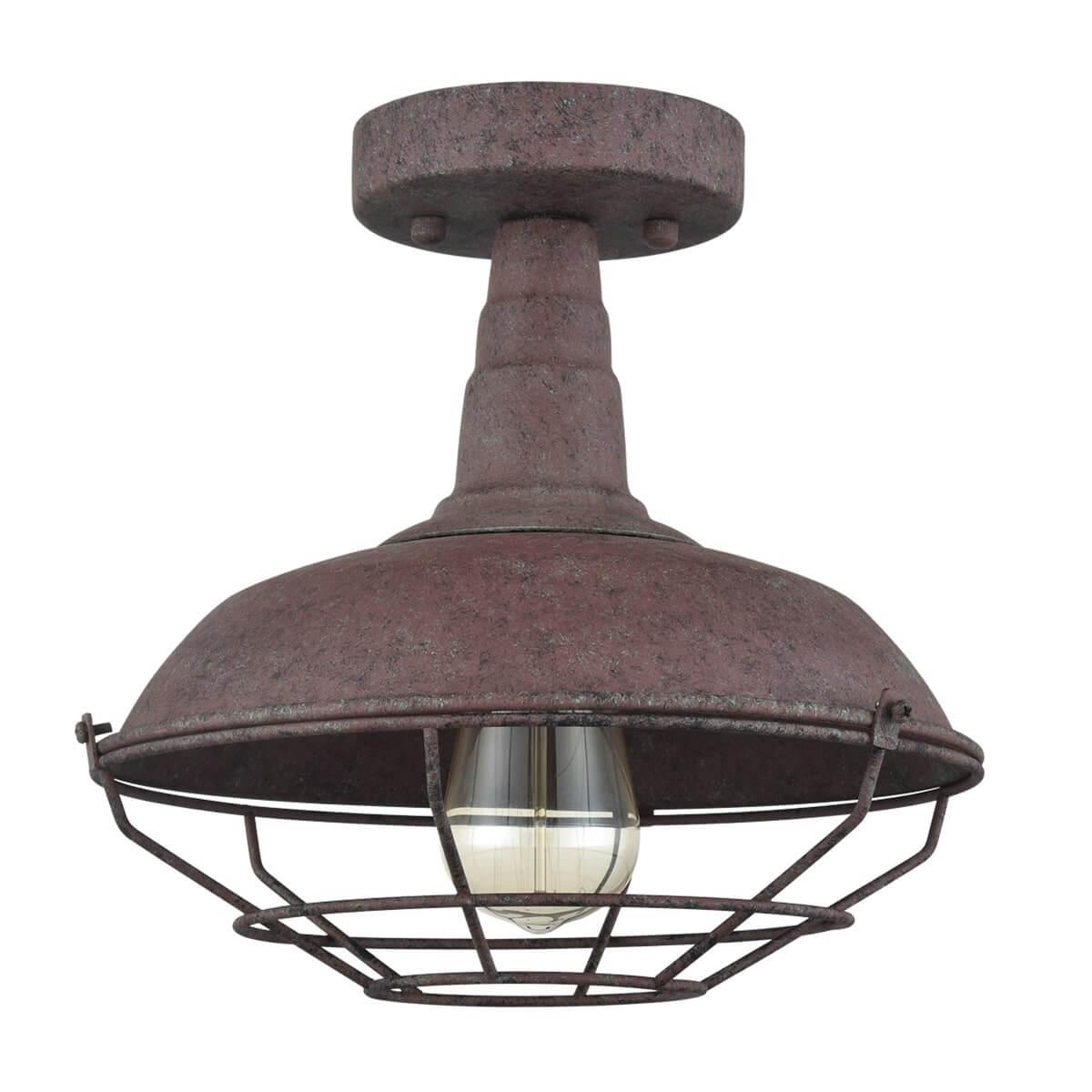 Farmhouse Semi-Flush Ceiling Lights Rust Metal Cage