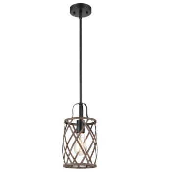 Farmhouse Metal Drum Ceiling Pendant Light Wood Finish 1-Light
