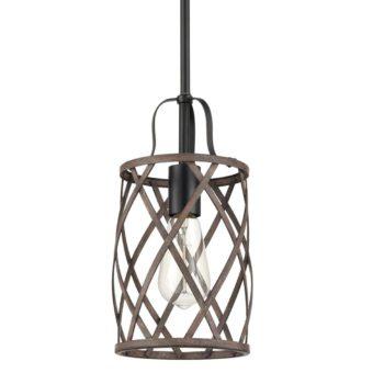 Farmhouse Metal Drum Ceiling Pendant Light Wood Finish 1-Light