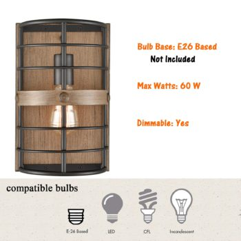 Farmhouse Metal Wall Sconce 1-Light Cage Wood Grain Wall Light