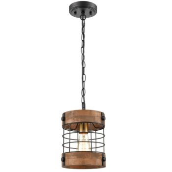 Farmhouse Metal Wood Cage Pendant Hanging Light Distressed Brown