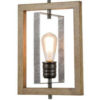 Farmhouse Pendant Light in Wood Grain Metal Rectangular Frame