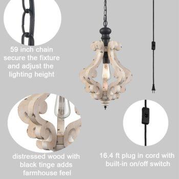 Farmhouse Plug in Distressed Wooden Pendant Lighting