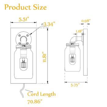 Rustic Plug-in Mason Jar Bedroom Wall Sconce Wood Plate 2-Pack